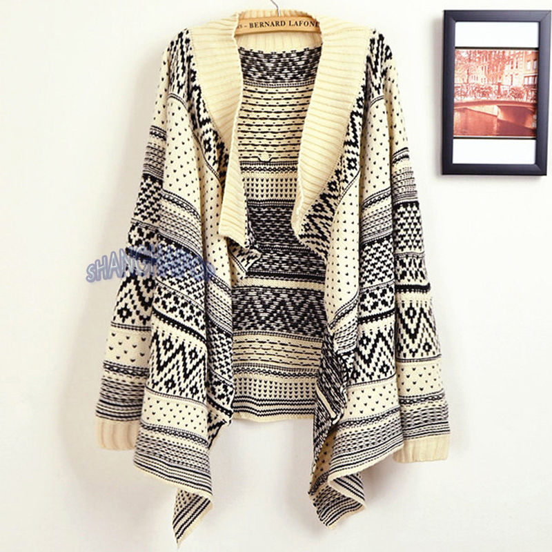 Women Waterfall Asymmetric Cardigan Open Tribal Aztec Sweater Knit Jumper Beige | eBay