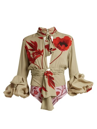bodysuit floral print silk green underwear