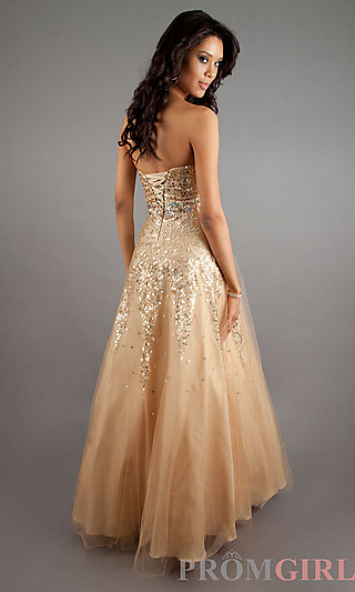 Strapless sequin ball gown, quinceañera cheap ball gown