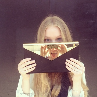 clutch bag girl gold black wallet suede reflective envolope metal metallic dress
