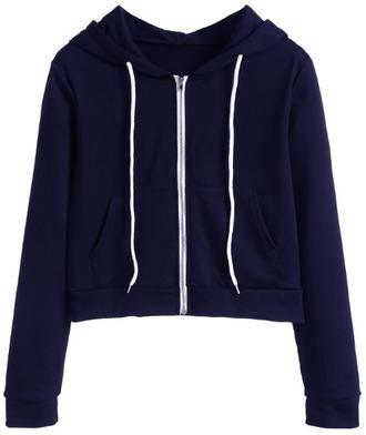 sweater crop cropped hoodie blue zip cropped hoodie girl girly girly wishlist