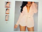 romper,long sleeve romper,jumper,boho,dress lilly,pink,jumpsuit,sexy dress,fashion is a playground,fashion vibe,fashionista,plunge v neck,kimmy dress,jewelry,pink dress,boho dress,fashion toast,date outfit,style scrapbook,lookbook