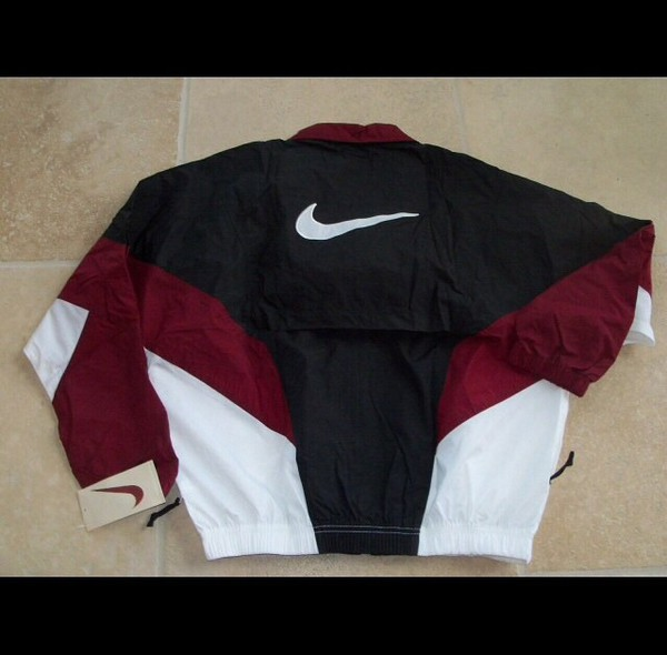 Nike Nylon Windbreaker Sz Xl Wine White Blk 1996 Dead