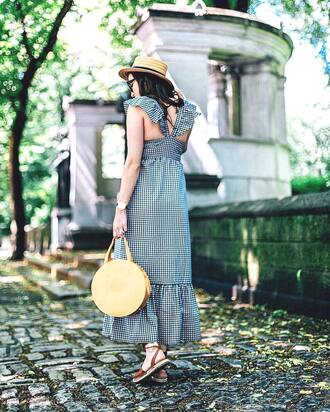 dress tumblr gingham gingham dresses maxi dress long dress summer outfits summer dress bag round tote hat sandals flat sandals shoes