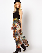 skirt,flowers,colorful,hippie,pretty,boho,maxi,chiffon,high waisted,shirt