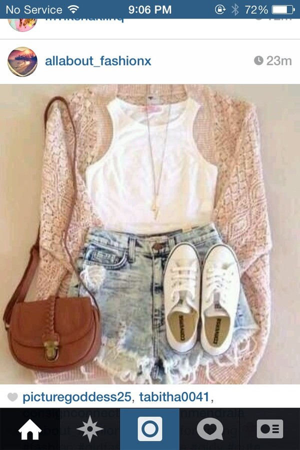 blouse spring ootd knitted cardigan pink sweater shorts shirt bag