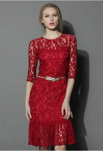 Belted Full Lace Midi Dress - Retro, Indie and Unique Fashion