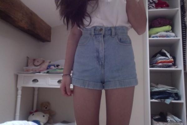 shorts high waisted denim shorts summer High waisted shorts short pale t-shirt top
