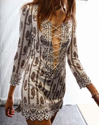 dress cover up swim cover tie up tie up dress front tie beach beach dress tribal pattern dress indian style short dress lace up boho dress pattern swimwear cover up front tied boho boho chic bohemian gypsy gypsy dress gypsy style hippie hippie chic hippie dress summer summer dress summer outfits tribal pattern patterned dress indian indie front lace