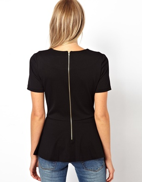 Mango | Mango Structured Peplum Top at ASOS