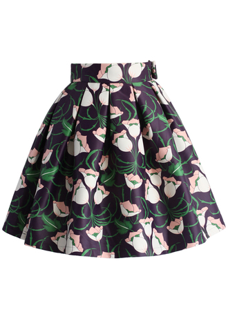 skirt chicwish floral skirt printed skirt oleated skirt tulip illustration pleated skirt pleated skirt midi skirt chicwish.com black midi skirt