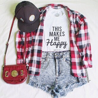 bag red bag quote on it black hat hat white shirt flannel shirt shorts jeans