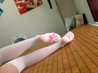underwear cats pads rose stockings white kawaii socks paw prints tights leggings knee high socks cute fashion pastel pink aesthetic tumblr