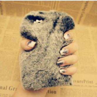 phone cover stuffed animal holiday season grey faux fur girly wishlist