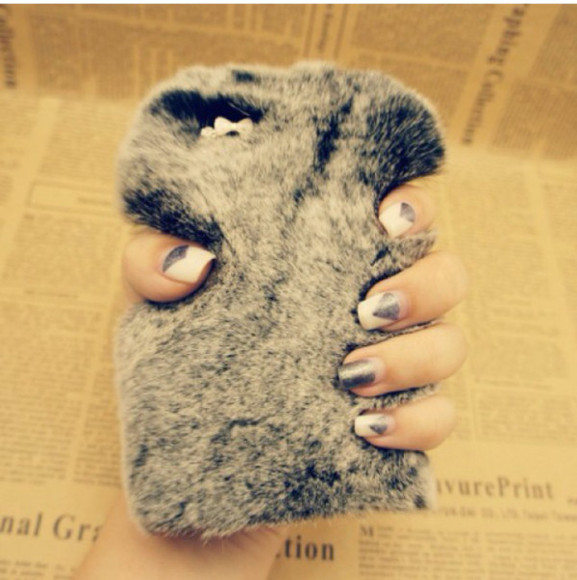 phone case stuffed animal holiday season grey faux fur