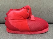 shoes,yeezus,yeezy,slippers,red