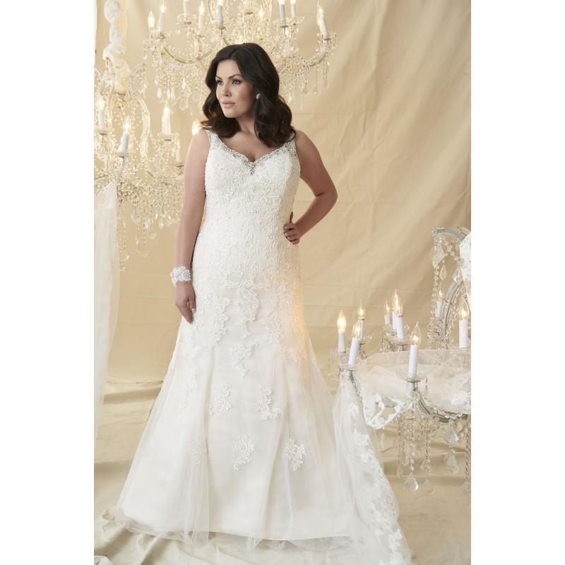 Plus-Size Dresses Rembrandt by Callista - Ivory White Champagne Tulle Floor  Jewel Straps V-Neck Wedding Dresses - Bridesmaid Dress Online Shop