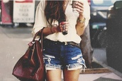 bag,color/pattern,vintage,short,shorts,belt,shirt,blouse,jewels,blue,distressed denim shorts,ripped,distressed shorts,jeans shorts summer tshirt coffee bag,summer outfits,flowy,top,white,clothes,tumblr outfit