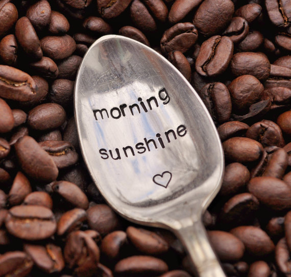 Morning Sunshine  -  Hand Stamped Vintage Coffee Spoon for COFFEE LOVERS (TM) on Wanelo