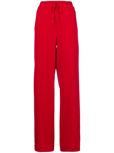 Area - wide leg trousers - women - Polyester - L, Red, Polyester