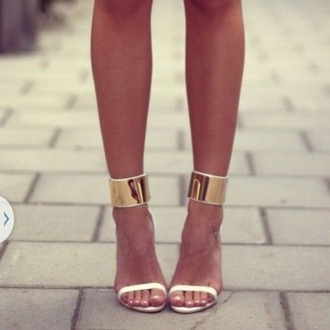 shoes gold white heels sandal buckled heels high heels strappy heels