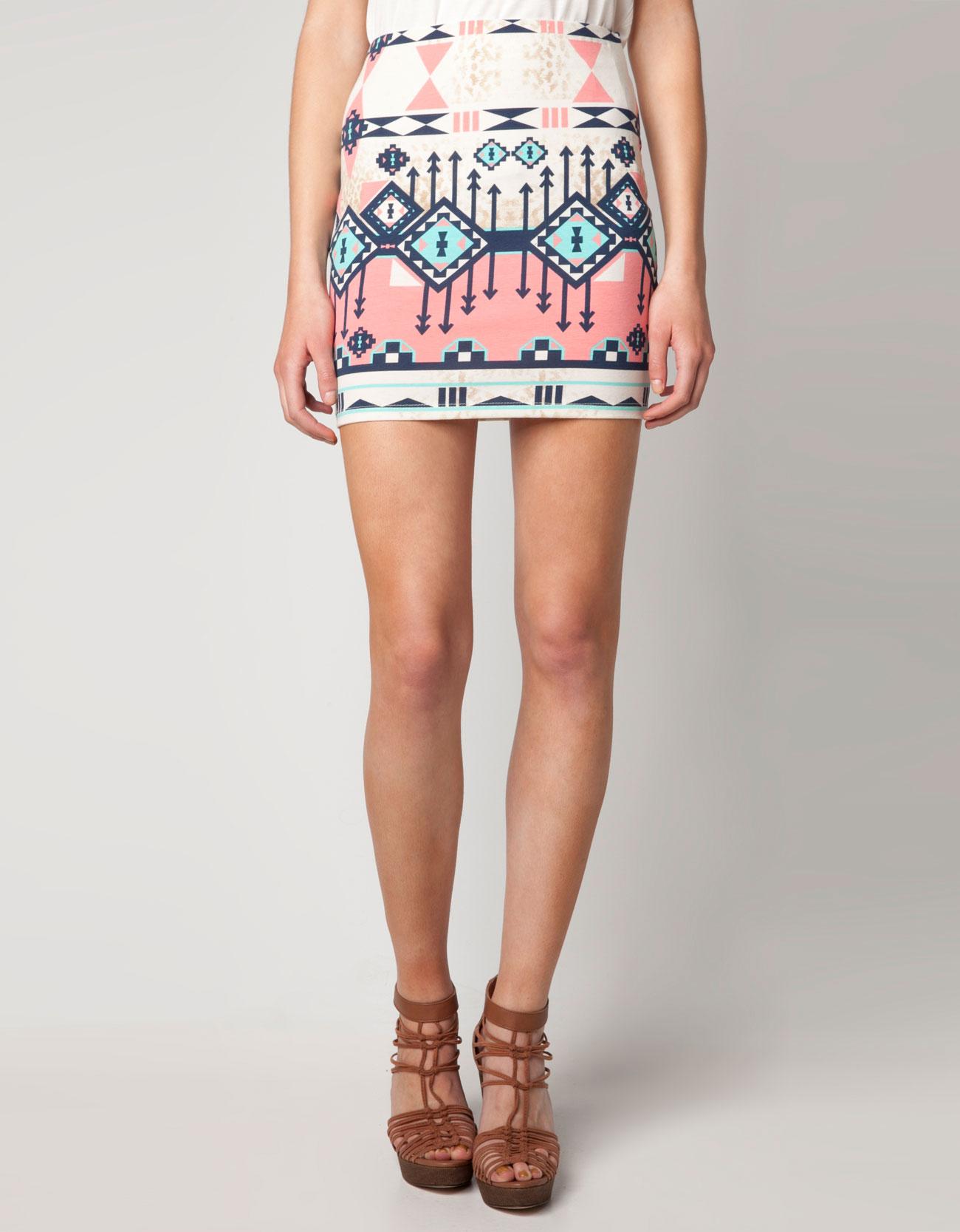 Bershka multiple print skirt