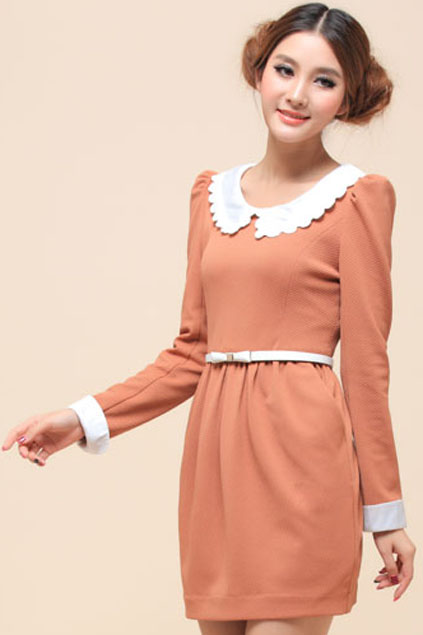 ROMWE   Dual-tone Body-con Pleated Light-red Dress, The Latest Street Fashion