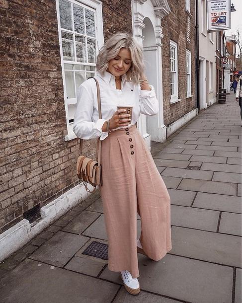 pants pink pants shirt white shirt shoes white shoes bag wide-leg pants spring outfits