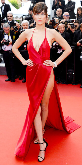 dress sandals red dress red carpet dress gown sexy dress slit dress slit maxi skirt cannes plunge dress prom dress long prom dress red wrap dress shoes