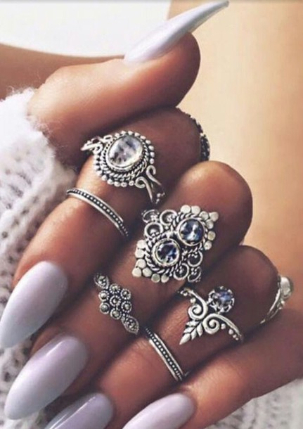 jewels ring rings silver knuckle ring nail accessories