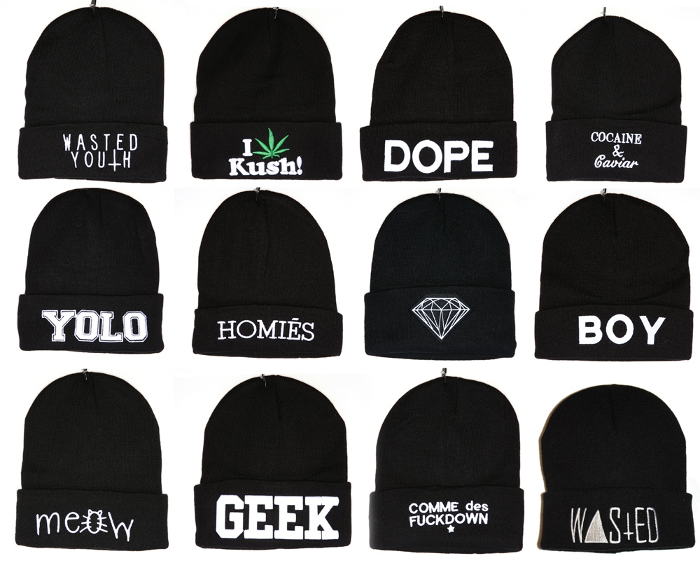 Comme Des F Ckdown Boy YOLO Wasted Youth Geek Dimond Meow Dope Kush Black Beanie | eBay