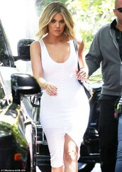 dress,khloe kardashian,celebrity,celebrity style,celebstyle for less,kardashians,keeping up with the kardashians,white ress,white dress,bodycon,bodycon dress,slit dress,party dress,sexy party dresses,sexy,sexy dress,party outfits,sexy outfit,summer dress,summer outfits,spring dress,spring outfits,classy dress,elegant dress,cocktail dress,cute dress,girly dress,date outfit,birthday dress,clubwear,club dress,graduation dress,prom dress,homecoming,homecoming dress,engagement party dress,wedding dress,wedding clothes,wedding guest,romantic dress,romantic summer dress,dope,white