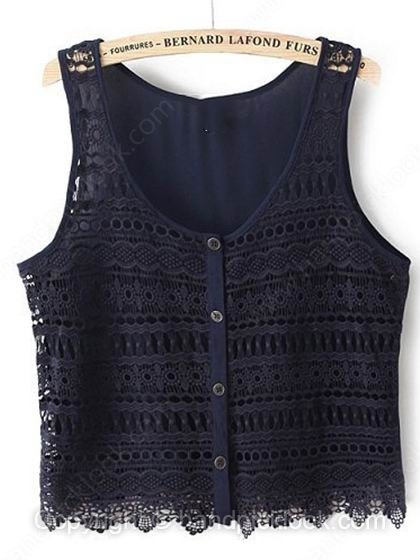 Navy Sleeveless Hollow Chiffon Lace Crop Vest - HandpickLook.com