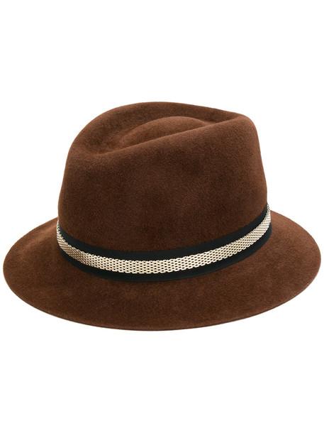 mesh embellished hat brown