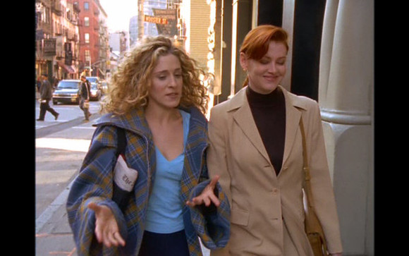 sex and the city coat carrie bradshaw jacket flannel blue yellow oversized season one turtle and the hair carriebradshaw sexandthecity season1 theturtleandthehair