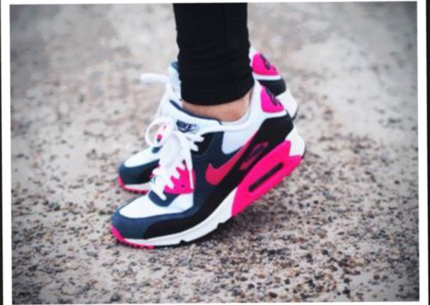 shoes pink white black air max