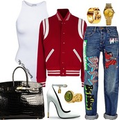 jeans,hermes,heels,bag,purse,ring,graphic jeans,pants,cuffed jeans,gold white heels,chic,celebrity style,trendy,denim,expressive style,california style,saint laurent,bodysuit,swimwear,one piece swimsuit,varsity jacket,jewels,jewelry,tote bag,white heels,red varsity jackets,outfit,denim pants,leather,leather tote bag,leather bag,fall outfits,streetstyle,jacket,shoes