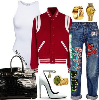 jeans hermes heels bag purse ring graphic jeans pants cuffed jeans gold white heels chic celebrity style trendy denim expressive style california style saint laurent bodysuit swimwear one piece swimsuit varsity jackets jewels jewelry tote bag white heels red varsity jackets outfit denim pants leather leather tote bag leather bag fall outfits streetstyle jacket shoes
