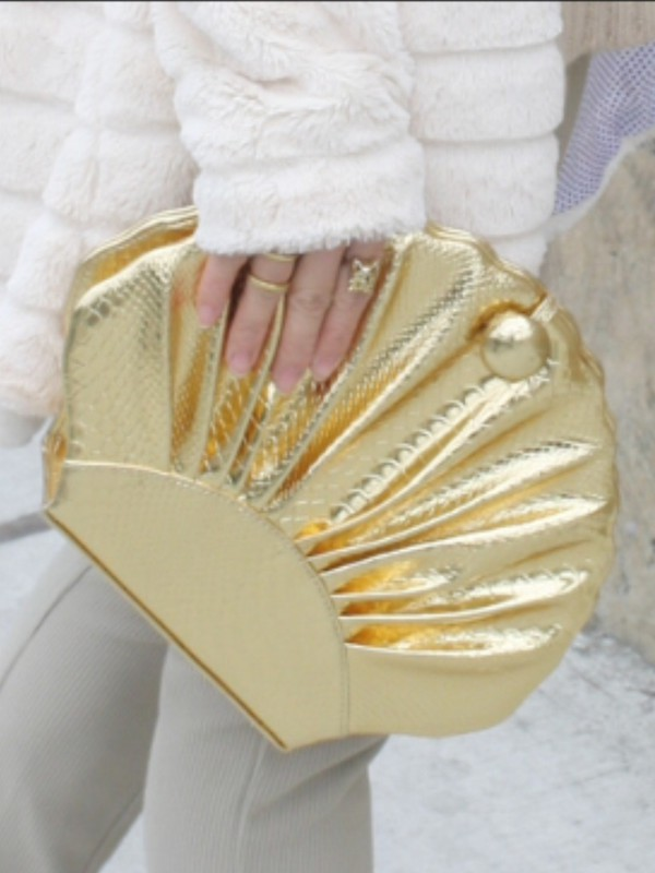 bag clam sea clutch mermaid gold metallic metallic clutch