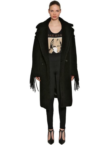 MAX MARA Double Breasted Fringed Fur Coat in black