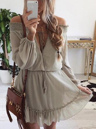 dress nude beige summer boho taupe off the shoulder wealfeel