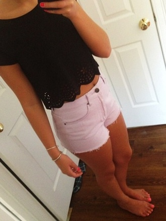 skirt black scalloped short sleeve cute summer summer top pretty shirt shorts jewels
