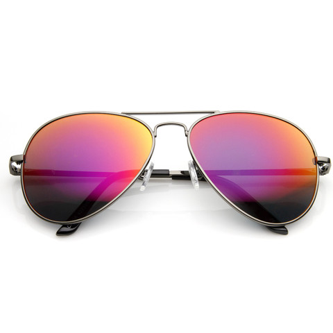 Premium Retro Metal Frame Flash Revo Mirrored Lens Aviator Sunglasses                            | zeroUV