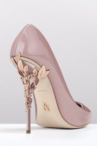 shoes nude gold leaves pretty high heels heels elegant shoes