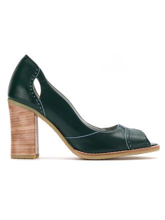women pumps peep toe pumps green shoes