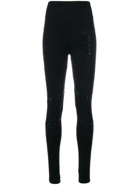 PHILIPP PLEIN leggings women sweet spandex cotton black pants