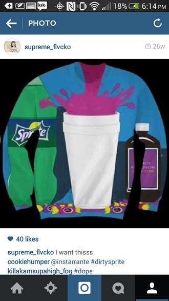 dirty sprite dirty sprite sweater lean sprite blunts purple pants live pants codeine sweater