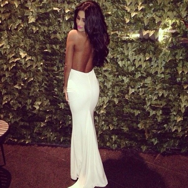dress white backless fitted top flowy bottom maxi dress white dress