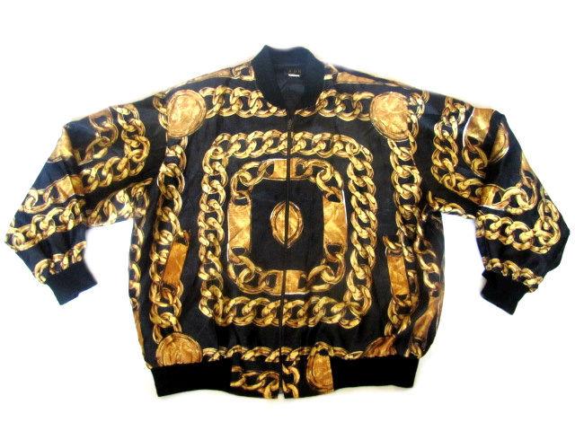 D.fame — men's chain print bomber jacket