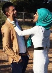 scarf,dress,belt,hijab,couple,turquoise